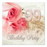 99.o Convite de aniversário, rosas e pérolas