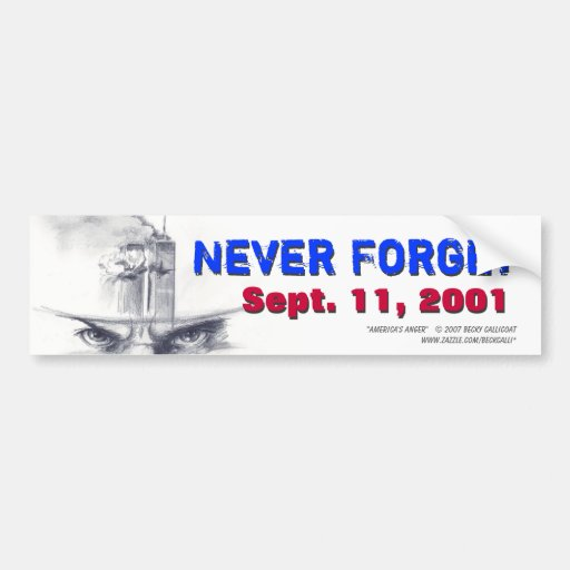 9/11 nunca esqueça o autocolante no vidro traseiro adesivo