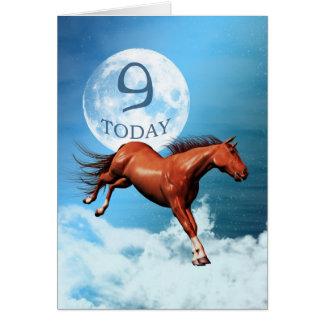 9 anos de cartão de aniversário velho com cavalo