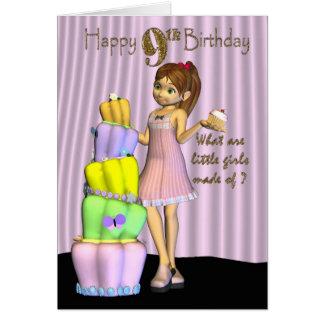 9o Aniversário, menina do cartão do feliz