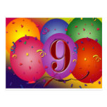 9o Balões coloridos da festa de aniversário Cartoes Postais