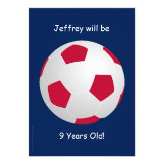 9o Bola de futebol do convite de aniversário