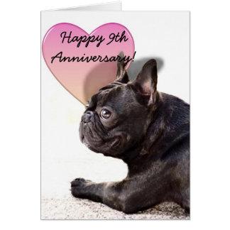 9o cartão feliz do buldogue francês do aniversário