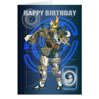 9o Feliz aniversario com guerreiro do robô Cartão Comemorativo
