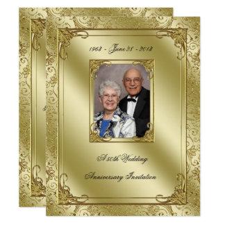 A 50th foto elegante do aniversário de casamento convite 10.79 x 13.97cm