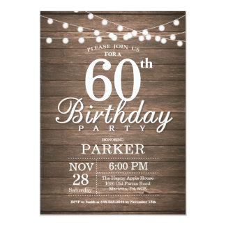 A 60th corda rústica do convite do aniversário