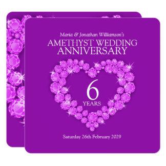 a 6a festa de aniversário amethyst do casamento convite quadrado 13.35 x 13.35cm