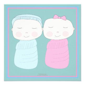 A a alegria dobro Convite gêmeo do chá da menina