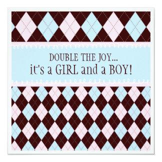 A a menina dobro do menino de Argyle da alegria Convite Quadrado 13.35 X 13.35cm