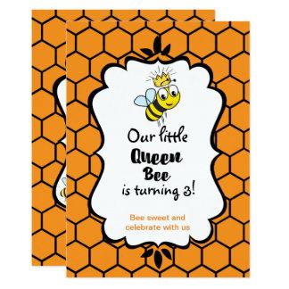 A abelha de rainha bonito Bumble a abelha com Convite 12.7 X 17.78cm