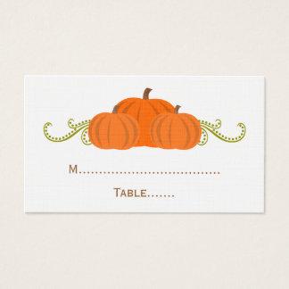 A abóbora roda cartão do lugar do casamento outono