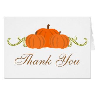 A abóbora roda cartões de agradecimentos do