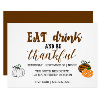 A acção de graças come a bebida e o cartão grato