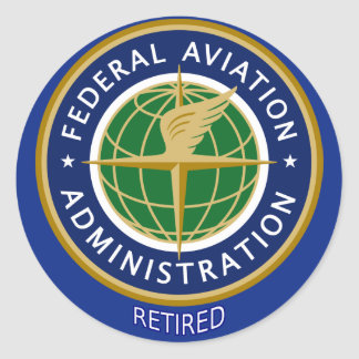 A Administração Federal de Aviação aposentada Adesivo Em Formato Redondo