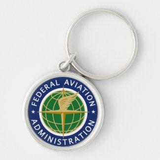 A Administração Federal de Aviação de FAA Chaveiro Redondo Na Cor Prata