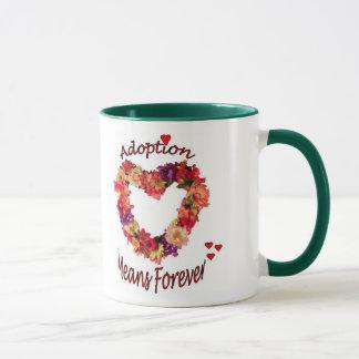 A adopção significa para sempre a caneca de café