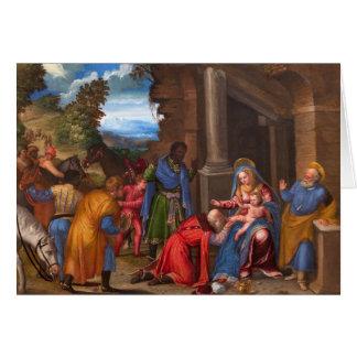A adoração do cartão de Natal dos Magi