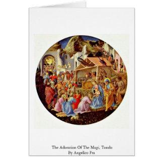 A adoração dos Magi, Tondo por Angelico Fra Cartão