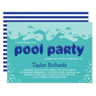 A água espirra - a festa na piscina do aniversário convite 12.7 x 17.78cm