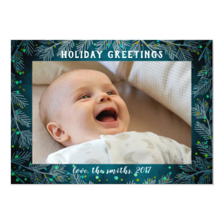 A aguarela azul alegre ramifica cartão com fotos