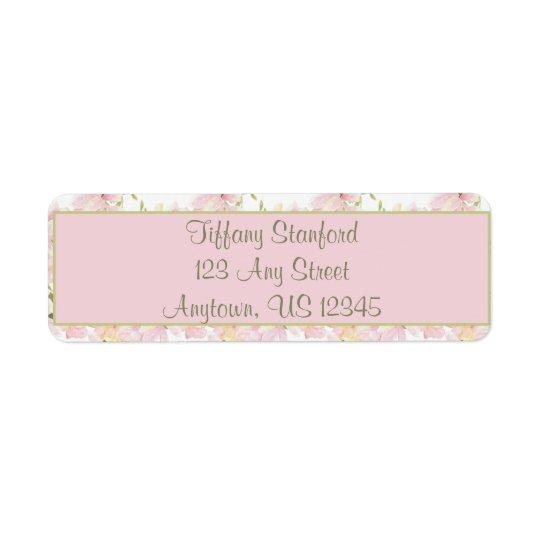 A aguarela cor-de-rosa e verde floresce | etiqueta endereço de retorno