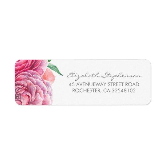 A aguarela cor-de-rosa floresce o casamento etiqueta endereço de retorno