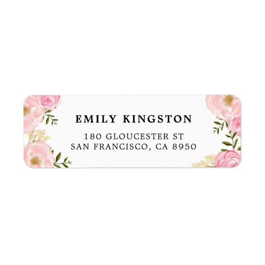 A aguarela cora etiqueta de endereço cor-de-rosa