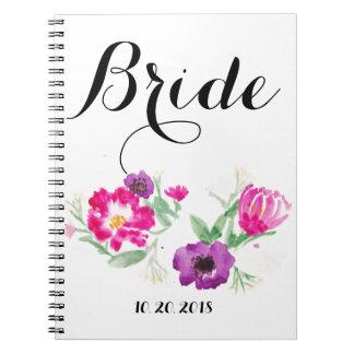 A aguarela da noiva floresce o caderno