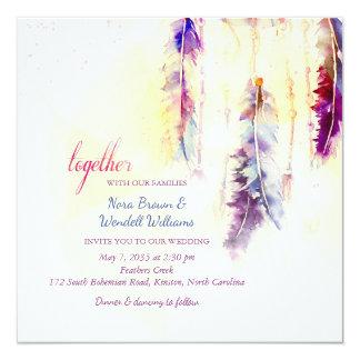 A aguarela Dreamcatcher empluma-se o casamento Convite Quadrado 13.35 X 13.35cm