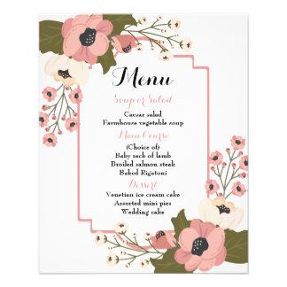 A aguarela floral cor-de-rosa do menu floresce o