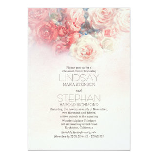 a aguarela floral cora jantar de ensaio convite 12.7 x 17.78cm