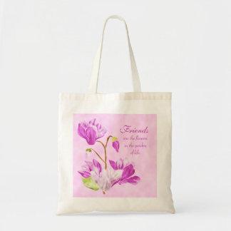 A aguarela floresce a sacola bolsa para compra