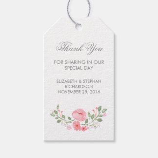 A aguarela floresce Tag do casamento