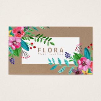 A aguarela moderna floresce o florista do papel cartão de visitas