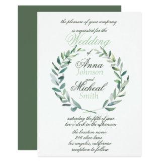 A aguarela moderna ramifica convite do casamento