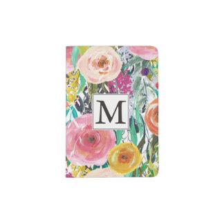 A aguarela romântica do jardim floresce o capa para passaporte