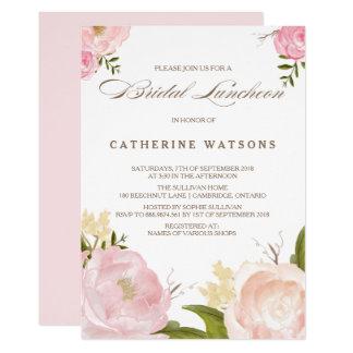 A aguarela romântica floresce o almoço nupcial convite 12.7 x 17.78cm