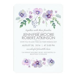 A aguarela roxa azul floresce o casamento convite 12.7 x 17.78cm