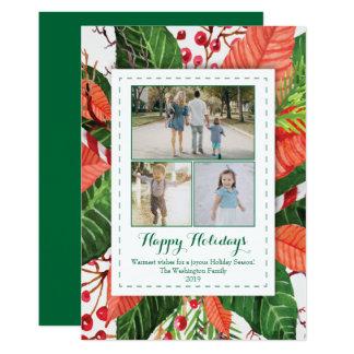 A aguarela sae do cartão com fotos do Natal três