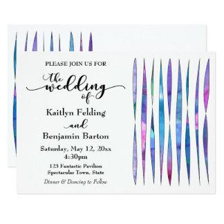 A aguarela Textures o casamento azul cor-de-rosa Convite 12.7 X 17.78cm