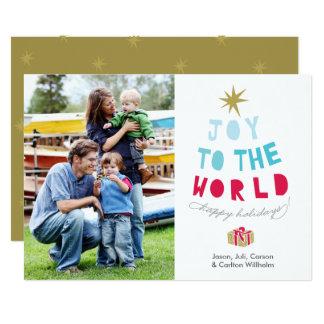 A alegria ao mundo - cartão com fotos do feriado - convite 12.7 x 17.78cm