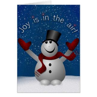 A alegria do boneco de neve está no cartão de