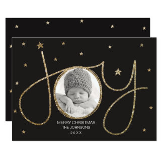 A alegria do ouro Sparkles cartão com fotos do