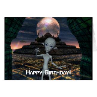 A alienígena encontra o cartão do feliz
