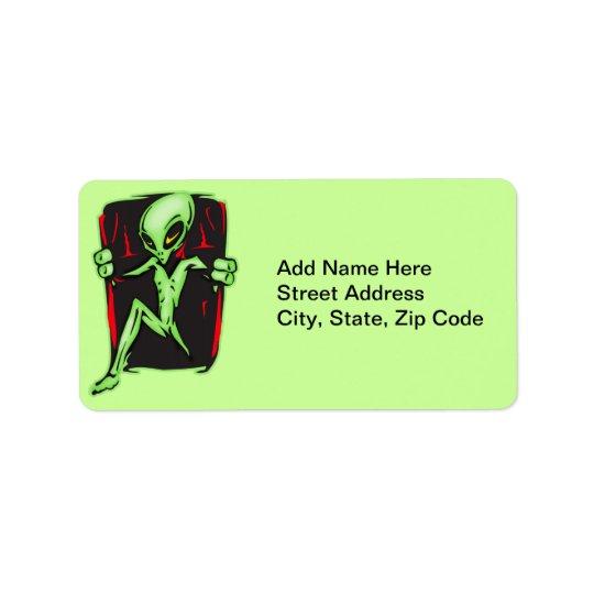 A alienígena invade sua casa etiqueta de endereço