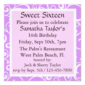 A ameixa doce & o aniversário cor-de-rosa convidam convite quadrado 13.35 x 13.35cm