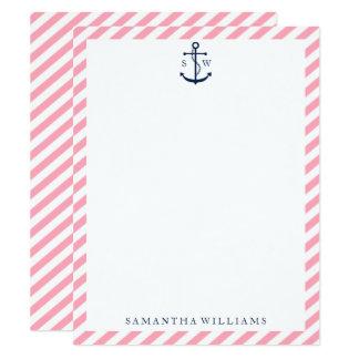 A âncora azul no rosa listra cartões de nota
