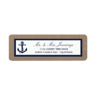 A âncora do marinho na coleção do casamento de etiqueta endereço de retorno