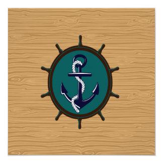 A âncora náutica envia o design do marinheiro do convite quadrado 13.35 x 13.35cm