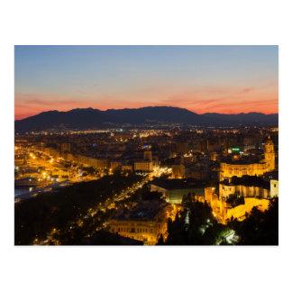 A Andaluzia - Malaga no cartão do por do sol